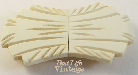 Art Deco Bakelite Double Belt Buckle Ivory White Fan 1930's