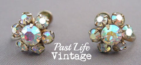 1950's Rhinestone Flower Earrings Mid Century Jewelry