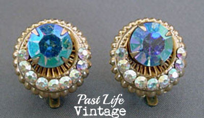 1960's Rhinestone Crescent Earrings Mid Century Jewelry