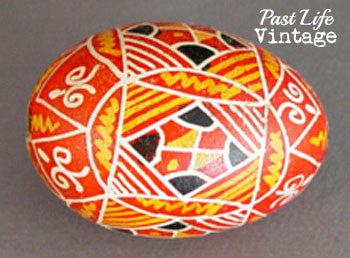 Vintage 1950's Pysanky Batiked Egg Yellow Red Black White