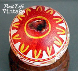 Pysanky Easter Egg Vintage 1950 Yellow and Red