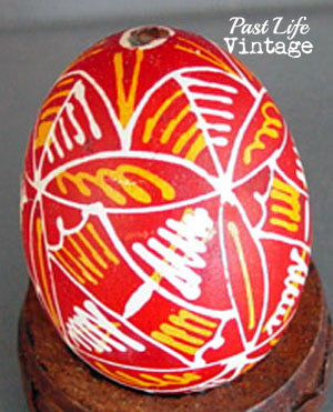 Vintage Pysanky Easter Egg 1950s Kraslica Yellow Red and White