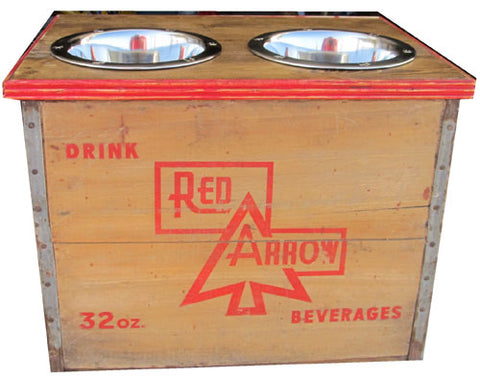 Red Arrow Detroit Vintage Crate Recycled Dog Feeder