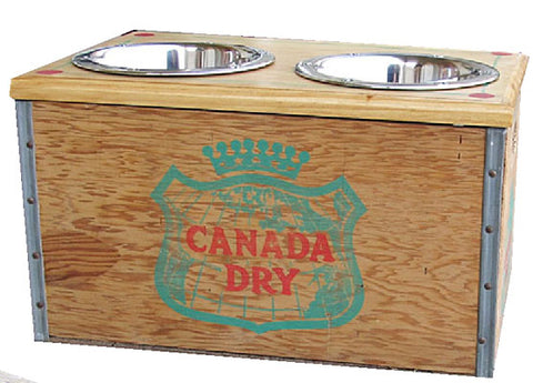 Canada Dry Vintage Wood Crate Recycled Dog Feeder Great Graphics