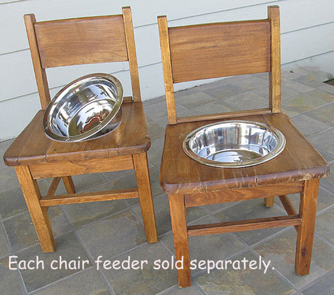 Dog Feeder Retro 1950s Oak Child's Chair Eco Friendly Recycling