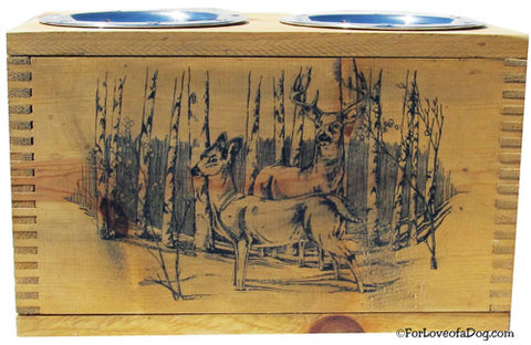 Vintage Evans Ammo Crate Dog Feeder with Deer Scene.