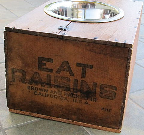 California Raisin Vintage Wood Crate Recycled Dog Feeder Sun Maid Fresno CA