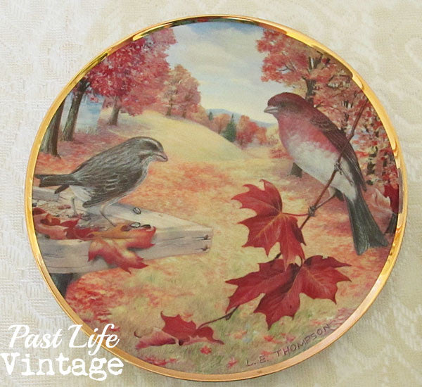 Purple Finches Plate Linda Thompson 1985 Favorite American Song Birds