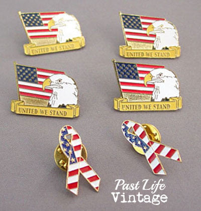 Set of 6 USA Patriotic Flag Lapel Pins 2001