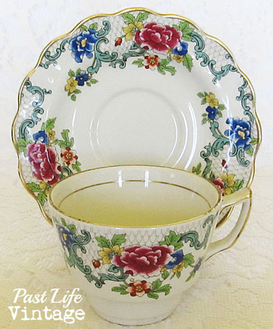 Vintage Booths Floradora English Bone China Cup Saucer 1930's