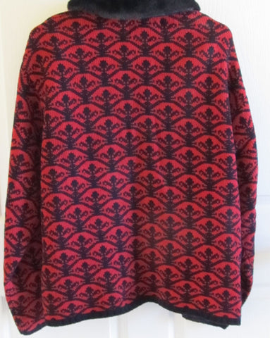 Vintage 1980s Chenille Cardigan Sweater Faux Fur Collar Sz 26/28 Red Black Free Shipping