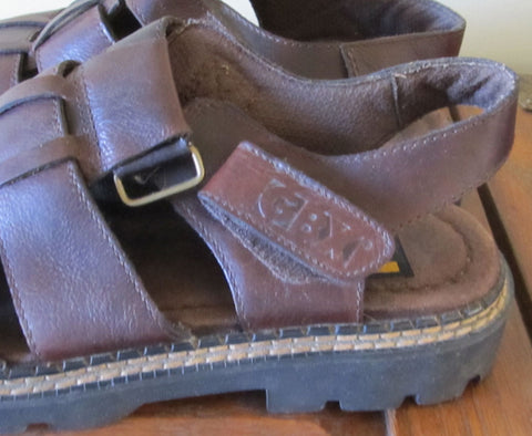 Vintage 90s Men's Fisherman Sandals 11 M Brown Leather Boho Hipster Hippie Style Like New