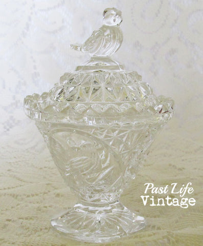 Vintage 1980s Cut Glass Bird Theme Candy Dish Footed with Lid
