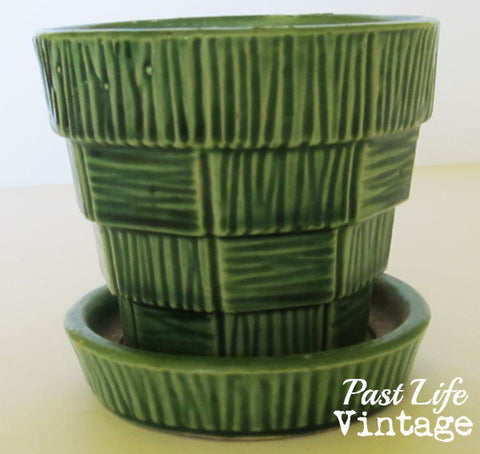 Vintage McCoy Green Basket Weave Flower Pot Planter