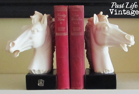 Vintage Horse Head Bookends Giannelli Signed Sculpture Alabaster and Marble