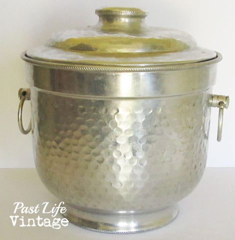 Hammered Aluminum Ice Bucket Vintage 1940s Made in Italy
