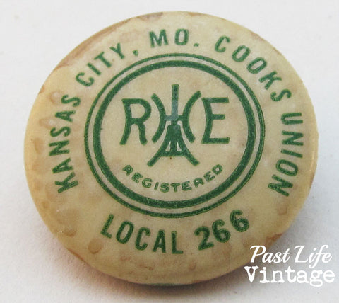 Vintage Kansas City MO Cooks Union Local 266 Pin 1920s