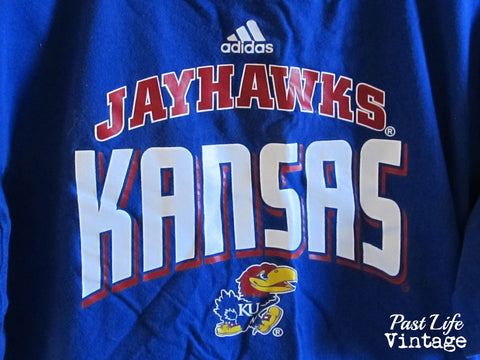Vintage 90s KU Jayhawks Adidas T-shirt XL Royal Blue Free Shipping