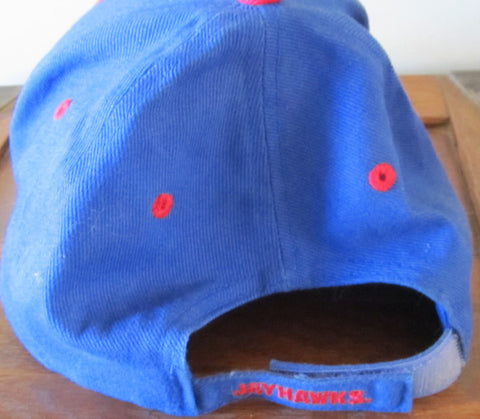 KU Jayhawks Cap Adjustable Hat Vintage 1990s Free Shipping
