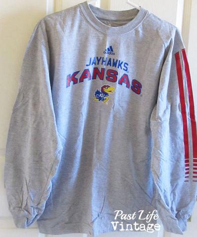 Vintaqe 90s KU Jayhawks Long Sleeved T-shirt XL Adidas Free Shipping