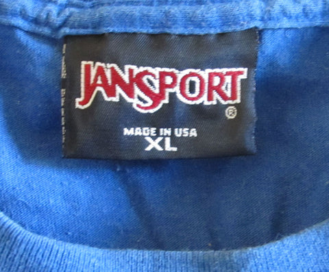 Vintage 1970s KU Jayhawks T-shirt XL Royal Blue Jansport Free Shipping