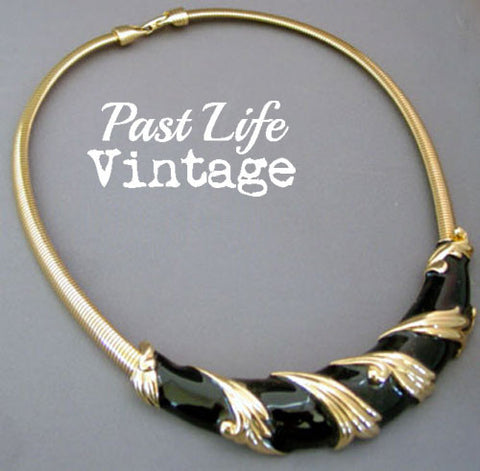 1980's Vintage Fashion Necklace Black and Gold Costume Jewelry