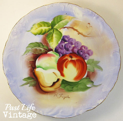 Norcrest Fruit Plate Hand Painted Japan Gold Trim 1950s