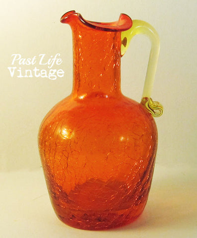 Mid Century Small Orange Pitcher Vase Ruffled Top Crackle Glass