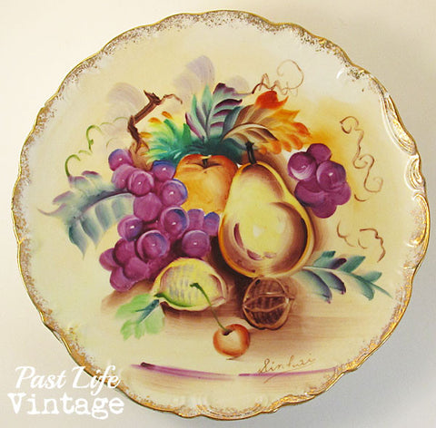 Hand Painted Porcelain Plate Set of 2 Fruit Vintage 1960s