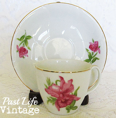 Pink Orchid Demitasse Cup Saucer Vintage 1950's Bone China