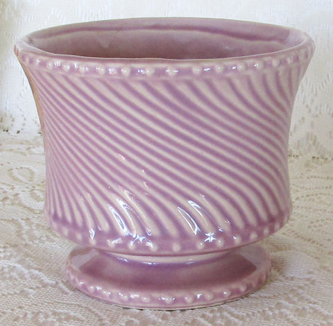 Vintage 60s McCoy Footed Swirl Planter Flower Pot Orchid Lavender Free Shipping