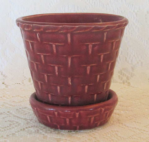 Vintage 40s Basket Weave Pot Planter Dark Raspberry Rose Color Free Shipping