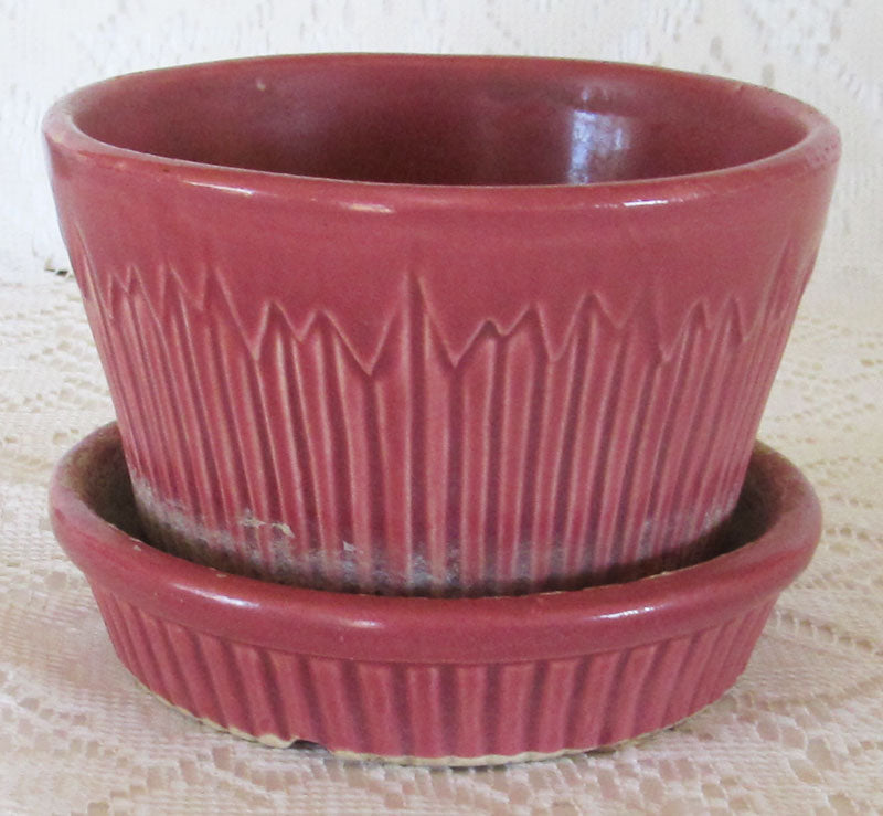 Vintage 40s Morton USA Flower Pot Planter Dark Raspberry Rose Free Shipping