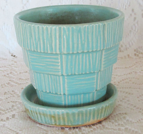 McCoy Turquoise Flower Pot Planter Vintage 40s Basket Weave Pattern Free Shipping