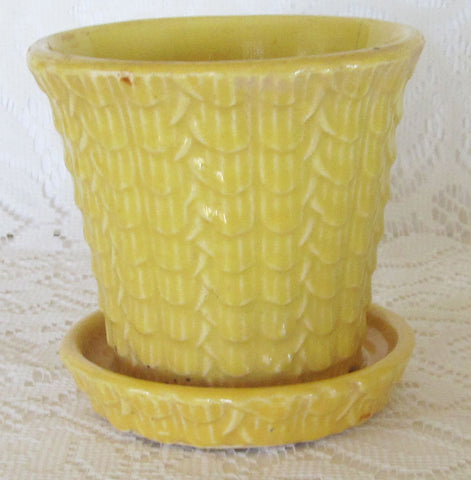 Vintage Yellow Flower Pot Planter 1940s Free Shipping