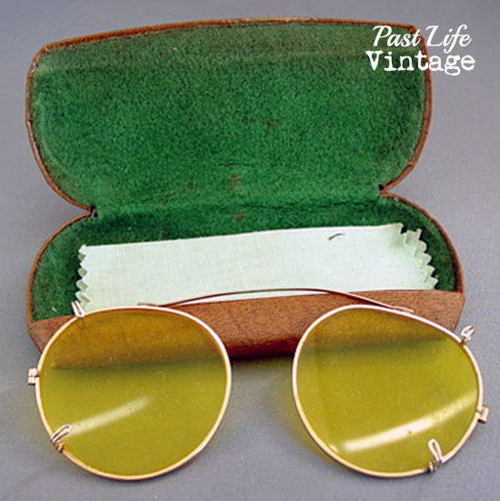 0c2b087787 Vintage Bausch Lomb Ray Ran Yellow Kalichrome Shooter Clip On Sunglasses