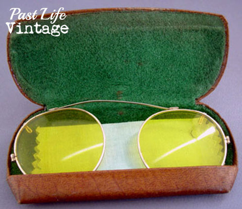 Rare Vintage Bausch Lomb Ray Ran Yellow Kalichrome Clip On Sunglasses