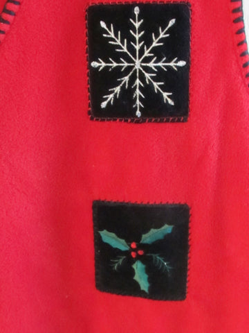 Vintage 90s Fleece Christmas Vest Women's Plus 2X Red Embroidered Free Shipping
