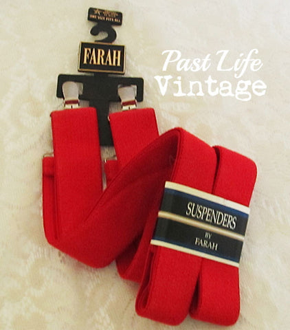 Farah Adjustable Suspenders Red Clip On NWT Vintage 1980's Free US Shipping