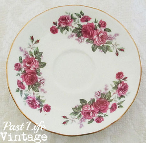 Queen Anne Bone China Cup Saucer Pink Roses Lilacs #8544 Vintage 1950's England Free Shipping
