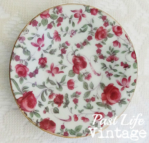 Red Roses Footed Demitasse Cup Saucer Vintage 1950's Porcelain