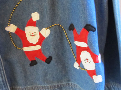 Denim Christmas Santa Shirt Jacket Sz 18 / 20 Vintage 1990s Applique Embroidery Free Shipping