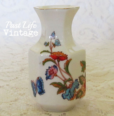 Small Vintage Bud Vase Butterfly Floral Porcelain Free Shipping