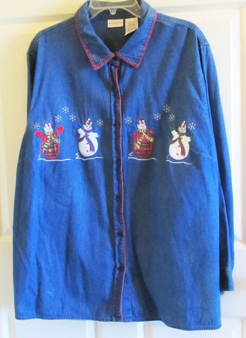 Denim Shirt Applique Embroidery Snowman Sz 22 / 24 Plus Vintage 1990s Free Shipping