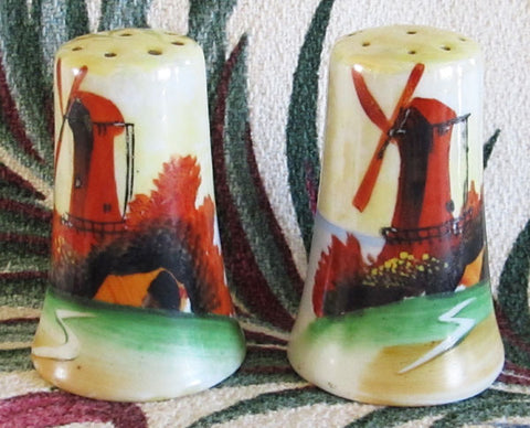 Vintage Lusterware Windmill Salt and Pepper Shakers 1930s Made in Japan Free Shipping