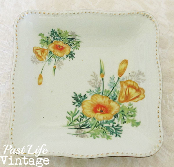Vintage 1950s Square Bowl White Porcelain Yellow Floral Hand Painted Made in Japan