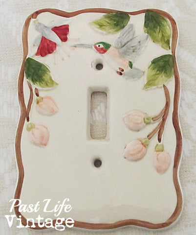 Hummingbird Light Switch Plate Cover Ceramic Vintage 1970s Japan Hand Painted