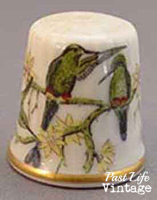 Kaiser W Germany Bone China Sewing Thimble Birds 1970's Collectible