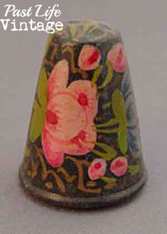 Vintage Wooden Thimble Set of 3 Hand Painted Floral Sewing Collectible