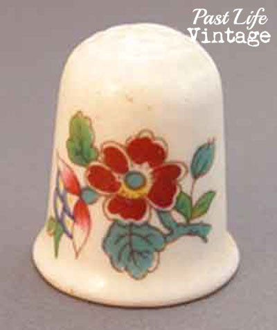 Coalport Ming Rose Bone China Thimble Vintage Sewing Collectible
